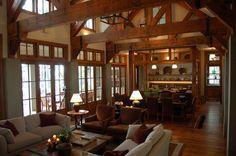 great room with wood beams | 您当前的位置: >> 欧式田园风格客厅装修图片