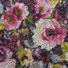 Mattiazzo Velvet Fabric A stunning jacquard cut velvet fabric featuring a diffused floral print in rose, violet, cream and damson with subtle gilver accents.