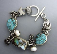 Boulder Opal Bracelet With Carved Turquoise by Temi on Etsy