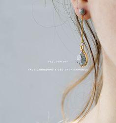 DIY Faux Labradorite Geo Drop Earrings
