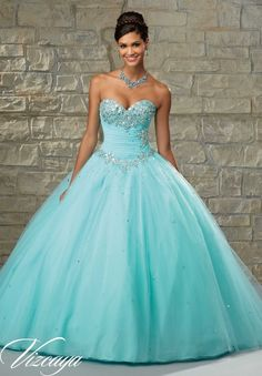 89028 Quinceanera Gowns Tulle Ballgown with Basque Waist and Beaded Bodice