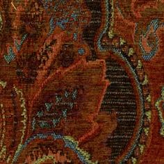 Autumn Leaf Harvest Chenille Woven Floral Upholstery Fabric - Discount Fabrics