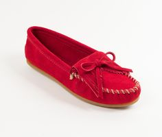 2157d756d4a Minnetonka Women s Red Leather Kilty Hardsole Moccasin 406 Suede Leather  Shoes