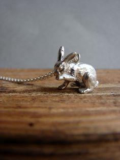 Silver Bunny Necklace Bunny Jewelry Animal Jewelry by Nafsika, $60.00