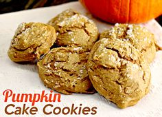 Only TWO ingredients and super super simple! The cookies are light and fluffy and will really hit the spot!Ingredients 1 box of spice cake mix 1 can of pumpkin sprinkle of sugar on each cookie (optional) Pumpkin Cake Cookies Recipe, Spice Cake Mix And Pumpkin, Cake Mix Cookie Recipes, Cake Mix Cookies, Pumpkin Dessert, Dessert Recipes, Cupcakes, Yummy Cookies, Cookie Pops