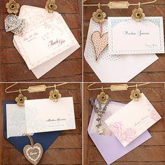 Tarjetas de agradecimiento para boda de azulsahara