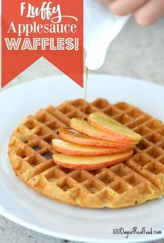 Waffle Recipe - Fluffy Applesauce Waffles from 100 Days of Real Food Clean Eating Breakfast, What's For Breakfast, Breakfast Recipes, Clean Eating Waffles, Clean Eating Recipes, Cooking Recipes, Whole Wheat Waffles, Waffle Iron Recipes, Whole Food Recipes