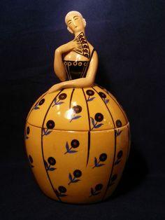 Extremely RARE 1920s Art Deco Robj Figural Powder Box w Original Powder Puff | eBay