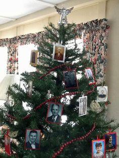 Create Christmas tree ornaments from old family photos. These have genealogy information on the backs, printed from family history software. Get the instructions on Family Tree Magazine's Photo Detective blog.