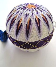 Handmade-Japanese-Temari-Ball-W-Tassel-10-1-2-034-Silk-Thread-Ornament