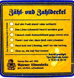 Historischer Bierdeckel Rückseite. #schwäbisch