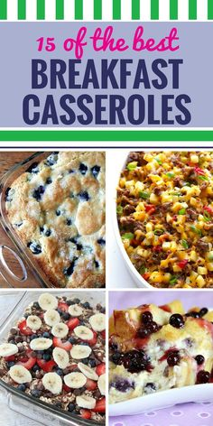 15 Breakfast Casserole Recipes. Breakfast is about to become your favorite meal. Great make ahead breakfast ideas and breakfast casserole recipes to feed a crowd - and even a few healthy options. Go ahead - invite the neighbors to breakfast.