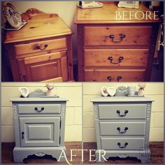 Before and after of orange pine transformed with Pure & Original Classico Chalk Paint in Evening Shadow, a beautiful soft grey, detailing dry brushed with Silk White. His and hers Jaycee bedside cabinet and drawers from Peony Moondrops