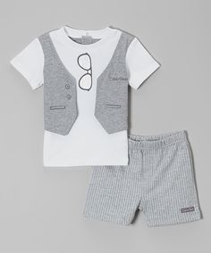 White & Gray Hanging Glasses Tee & Shorts - Infant