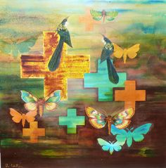 Heavenly Creatures www.raewest.co.nz Nz Art, Heavenly, Creatures, Mixed Media, Painting, Fictional Characters, Artists, Image, Nature