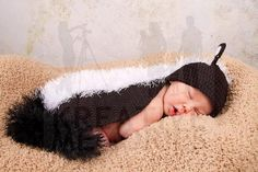 Little critter cuddle Skunk outfit - Hat and back cover set - Photo Prop for baby or gift for Baby Shower. $35.00, via Etsy.