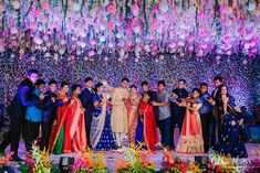 Photo from Divya & Abhilash (Hyderabad) Wedding Wedding Backdrop Design, Wedding Stage Design, Wedding Hall Decorations, Engagement Decorations, Marriage Decoration, Floral Backdrop, Garland Wedding, Engagement Ideas, Decor Wedding