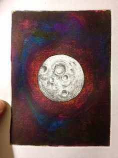 Moon Plate engraving / water colors Artwork Made in my kitchen
