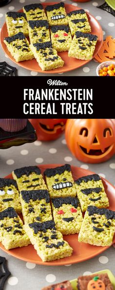 Frankenstein Cereal Treats - Whether you're gearing up for Halloween or a monster movie marathon, these Frankenstein Cereal Treats are sure to be a hit at your party. Use icing colors to tint your cereal treat mixture green, then decorate your treats to look like monsters using black icing. A fun way to dress up your favorite emoji in a Halloween costume, these cereal treats are sure to make your next Halloween bash a monster hit!