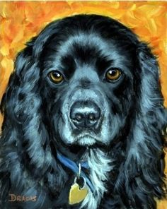 Cocker Spaniel Dog Art 8x10 Print Painting by by DottieDracos
