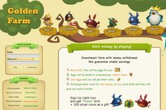 Golden Farm - online investment game with real money withdrawal. Buy birds, sell eggs for real money.