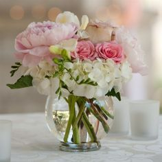 Small Pink and White Centerpieces for cocktail tables? Cake table?