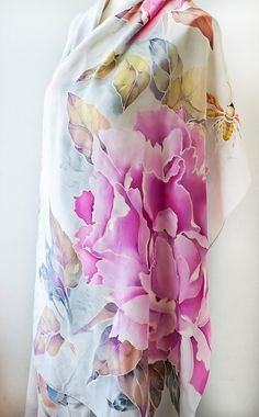 Hand Painted Silk Scarf Silk Shawl Peonies with Bird and Bees