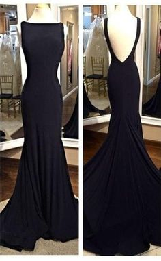 2017 Sexy Black Prom Dress,Mermaid Style Evening Dress,Backless Prom Dress,Chiffon Prom Dress,Bateau Neckline Prom Dress,Long Evening Dress,