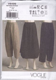 Vogue Sewing Pattern Marcy Tilton Wearable Art Misses' Skirt Pants 6 -20 V8499 | Crafts, Sewing, Sewing Patterns | eBay!