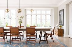 Midcentury dining space with modern lights