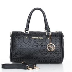 Michael Kors Grayson Perforated Logo Large Black Satchels