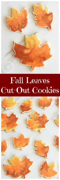 Sugar cookie cut-outs decorated to resemble changing fall leaves with cookie flooding technique! Sugar Cookie Cutouts: 1 c. butter softened c. vanilla 2 c. flour plus more for rolling tsp. Thanksgiving Cookies, Fall Cookies, Iced Cookies, Royal Icing Cookies, Cookies Et Biscuits, Holiday Cookies, Holiday Desserts, Sugar Cookies, Baking Cookies