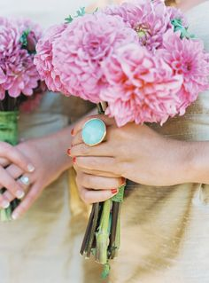 pink dahlias. Love the ring too.