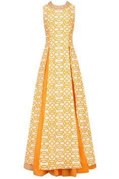 Off white and orange thin line geometric print kurta with orange lehenga available only at Pernia's Pop Up Shop.