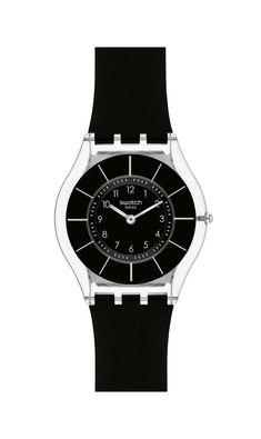 √ BLACK CLASSINESS.Swatch Watch Swiss Black Classiness Black Silicone Strap 34mm  SFK361. Intemporelle, ultra fine⭐