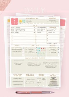 Borbollo Planners, Daily Planner, A5 Daily Planer, A4 Daily Planer, Letter size Daily Planer, Planner inserts, Printable planner  The most beautiful daily printable planner. Start your day with this yummy, relaxing and welcoming planner. Take 10' and create universal attractions towards an awesome day…