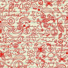 Michael Miller Fabrics ALWAYS PEACE in Coral by BugsellaSupplies, $8.90