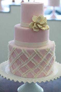Milk glass cake stand like mine! Beautiful Wedding Cakes, Gorgeous Cakes, Pretty Cakes, Amazing Cakes, Fondant Cakes, Cupcake Cakes, Sweet Cakes, Fab Cakes, Pastel Cakes