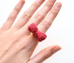 Dark Red Knit Bow Ring - Yarn Jewelry  by SheepishKnitCrochet on Etsy