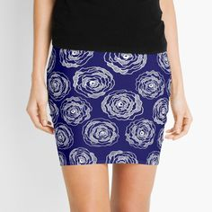 Buy 'Doodle Roses' Navy Blue and White mini skirt by Notsundoku | Redbubble. A repeat pattern of hand drawn doodle roses. #repeatpattern #patterns #roses #doodles #doodleart #flowers #handdrawn #Notsundoku # Redbubble #miniskirts #skirts #fashion