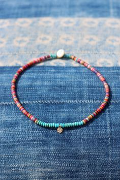 Boho Choker w Colorful Vinyl, Turquoise & Gold Vermeil Peace Sign, Tiny Peace charm, African Vinyl, Festival Style, Dainty, Layering, Hippie by HappyGoLuckyJewels on Etsy