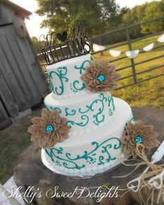 burlap wedding cake | Teal Scrolls and Burlap Flowers — Round Wedding Cakes