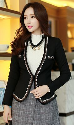 StyleOnme_Colour Fringe Trim Collarless Jacket #black #autumnlook #koreanfashion #elegant #feminine #formal #seoultrend