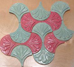 Moroccan Fish Scale tile, 1 square foot 12 tile mixed Rose and celadon green, kitchen backsplash or bath Geometric Tiles, Geometric Shapes, Mermaid Tile, Fish Scale Tile, Dragon Scale, Fish Scales, Handmade Tiles, Woodland Theme, Moorish