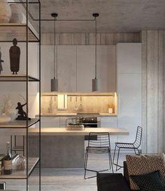 aménager-une-petite-chambre-petite-cuisine-béton-ciré-grande-étagère-deux-lampes-pendantes