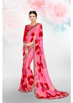 couleur rose georgette saree, - 52,00 €, #SariPasCher #RobePakistanaise #LaModeExclusive #Shopkund