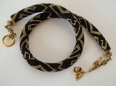 Black and gold bead crochet necklace Dragon by MilenasBoutique, $92.00