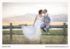 Bride and Groom Portrait, Sunset, Mountains, Fence  Montana Wedding Photography