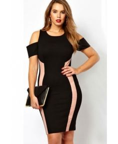 Plus Size Black Exclusive Dress With Drop Shoulders Kellips - Kellips - 1 Cute Dresses, Casual Dresses, Fashion Dresses, Black And Pink Dress, Cheap Dresses Online, Dress Plus Size, Swagg, Plus Size Fashion, Bodycon Dress