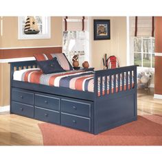 Signature Design by Ashley Lulu Blue Twin Trundle Bed (Twin Bundle)